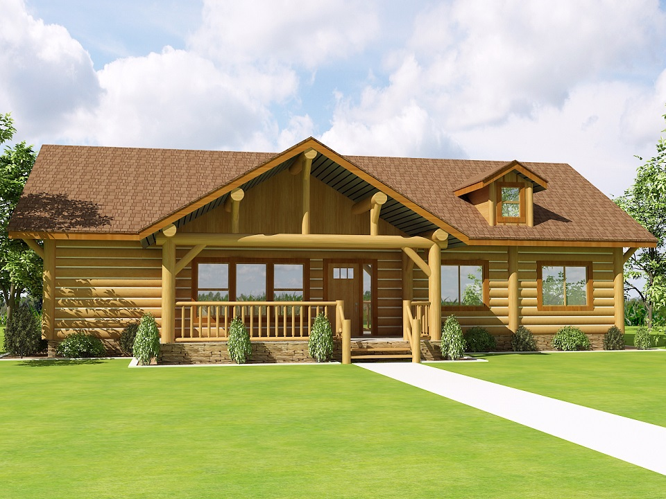 The ridgeline log cabin log home plans for Colorado log home plans